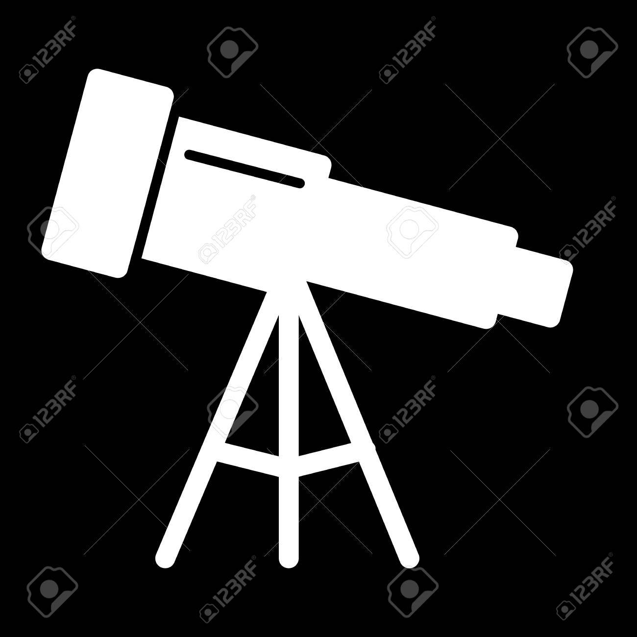 Astronomy Telescope Vector Icon Black And White Illustration Of Solid Linear