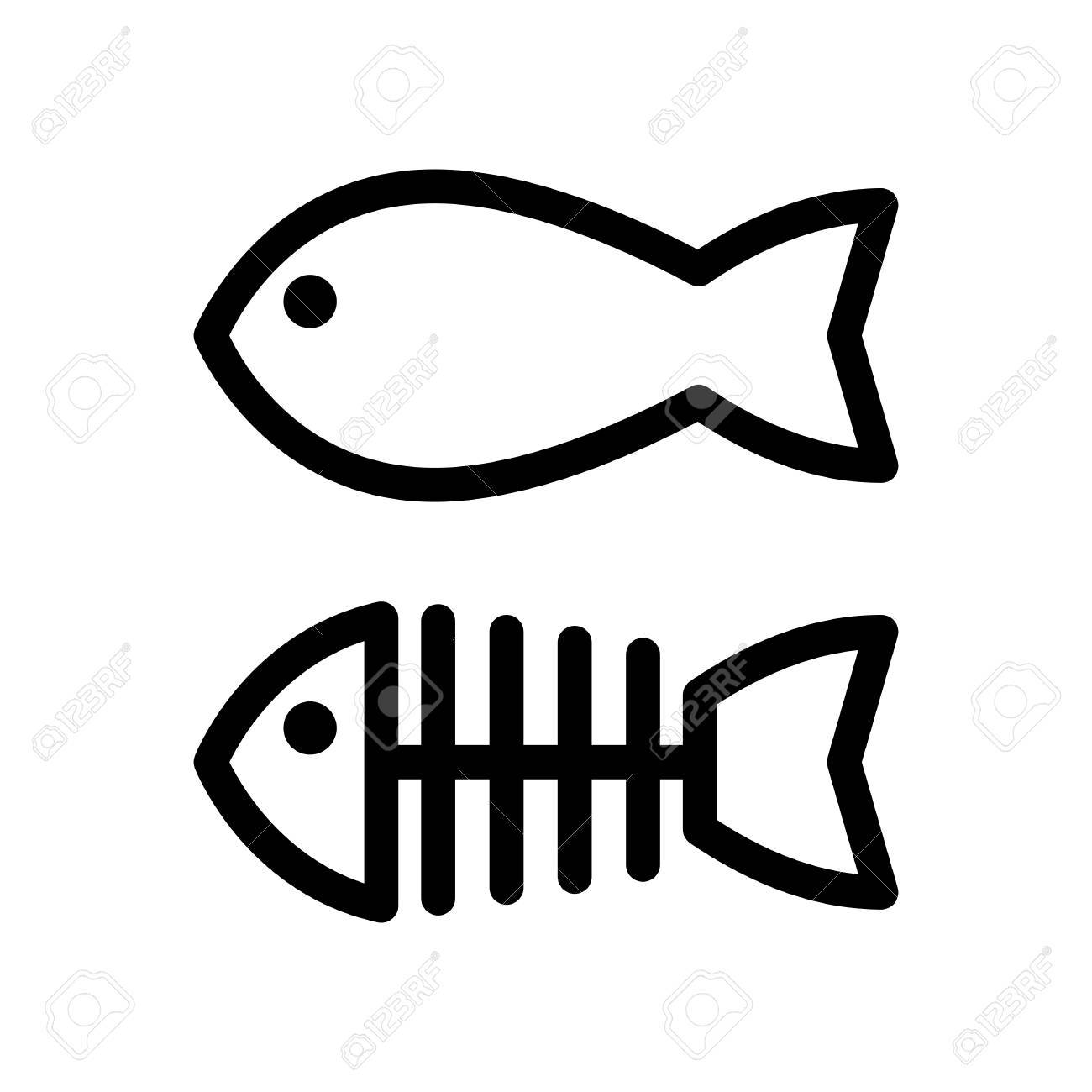 Fish and skeleton simple vector icon. Black and white illustration of fish bones. Outline linear icon. - 79516974
