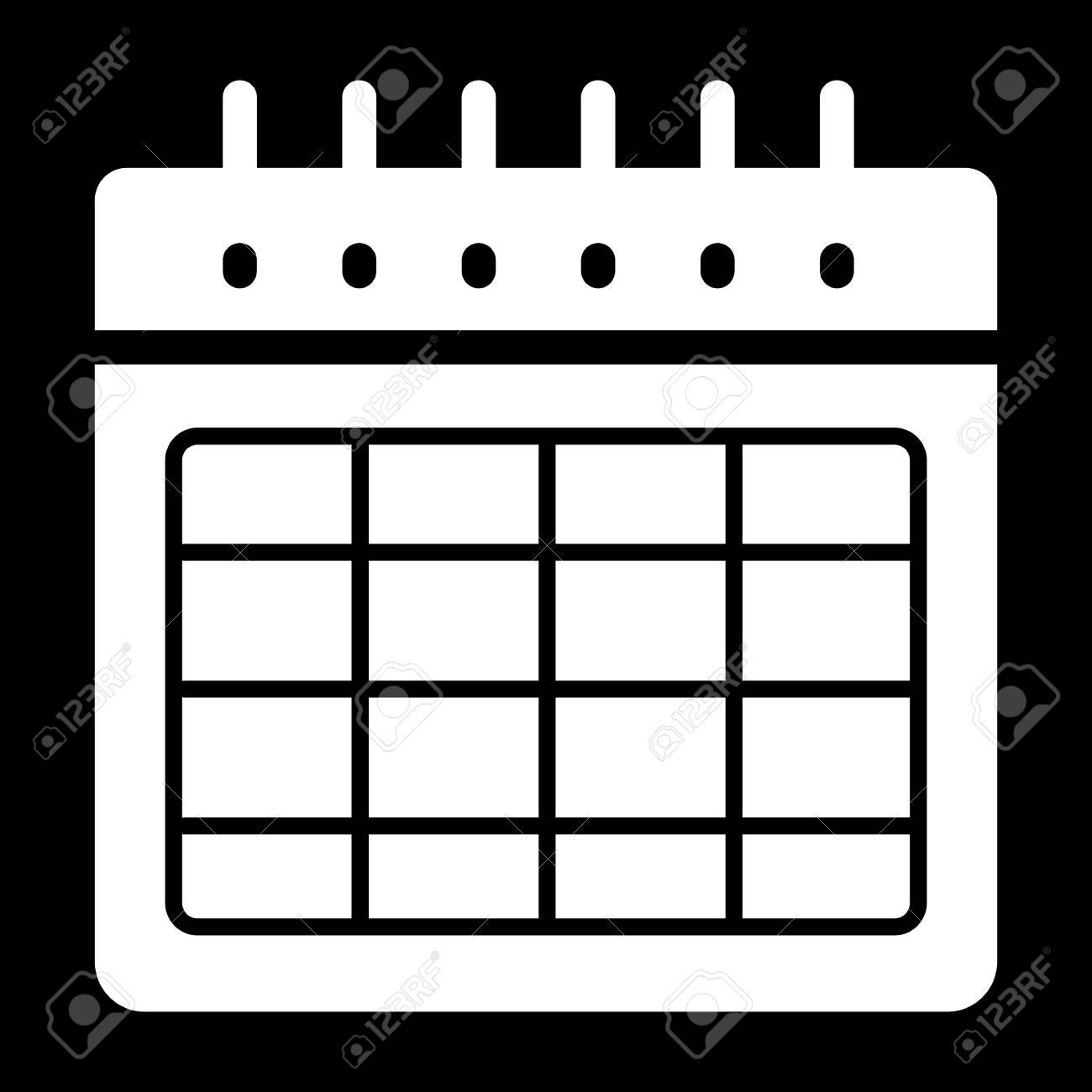 Calendario Vector Blanco.Timetable Blank Vector Icon Black And White Illustration Of