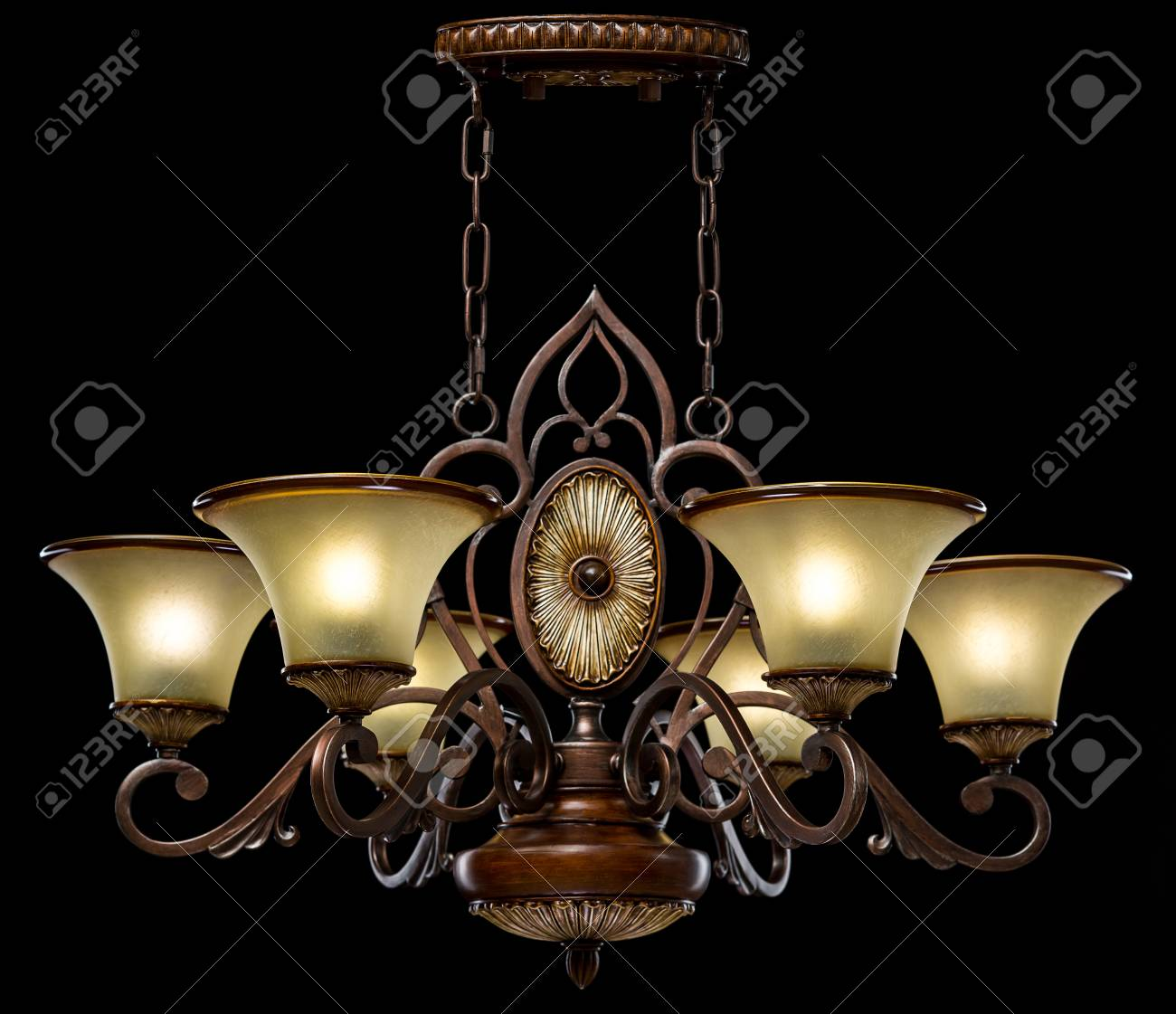 Chandelier in country style isolated on black background chandelier chandelier in country style isolated on black background chandelier lamp for the living room interior aloadofball Images