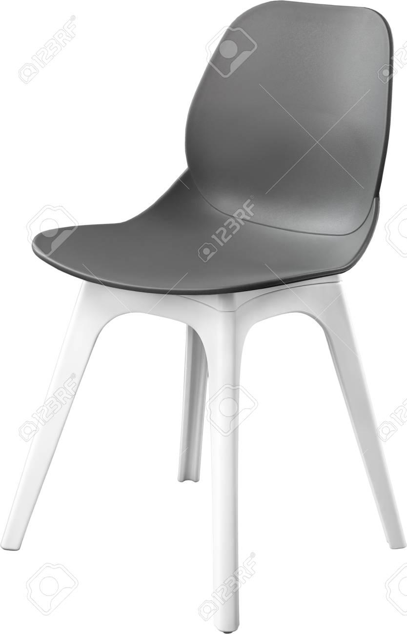 Chaise En Plastique De Couleur Grise Designer Moderne