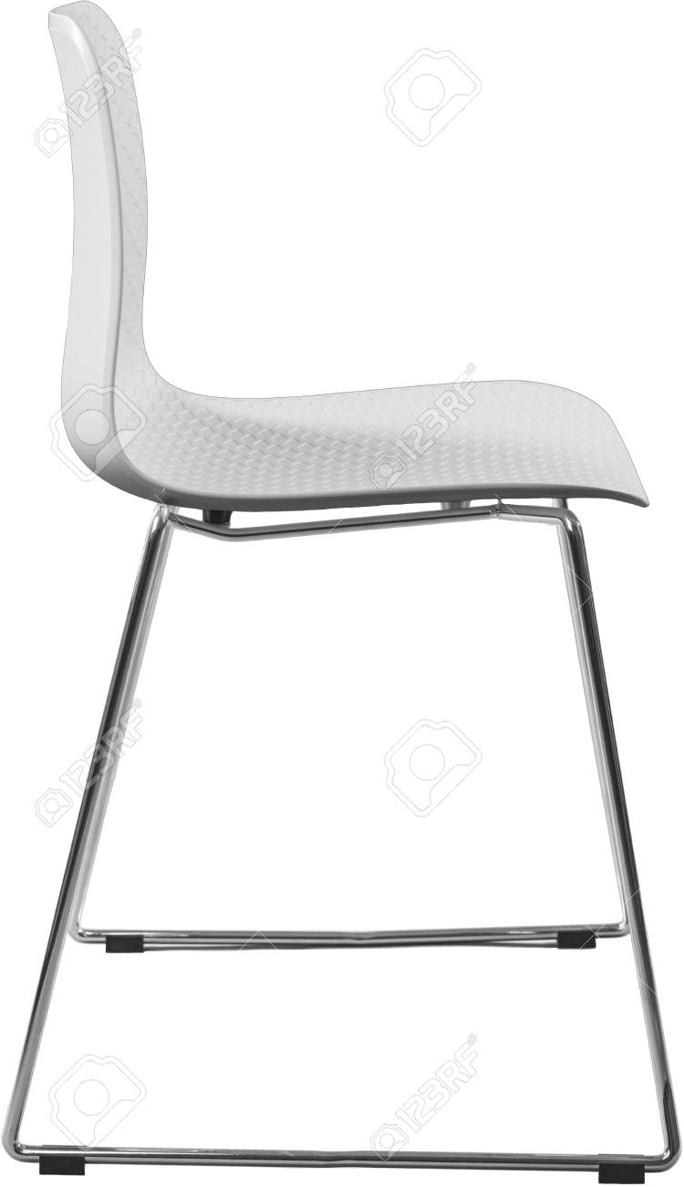 Stock Photo   White Color Plastic Chair With Chrome Legs, Modern Designer.  Chair Isolated On White Background.