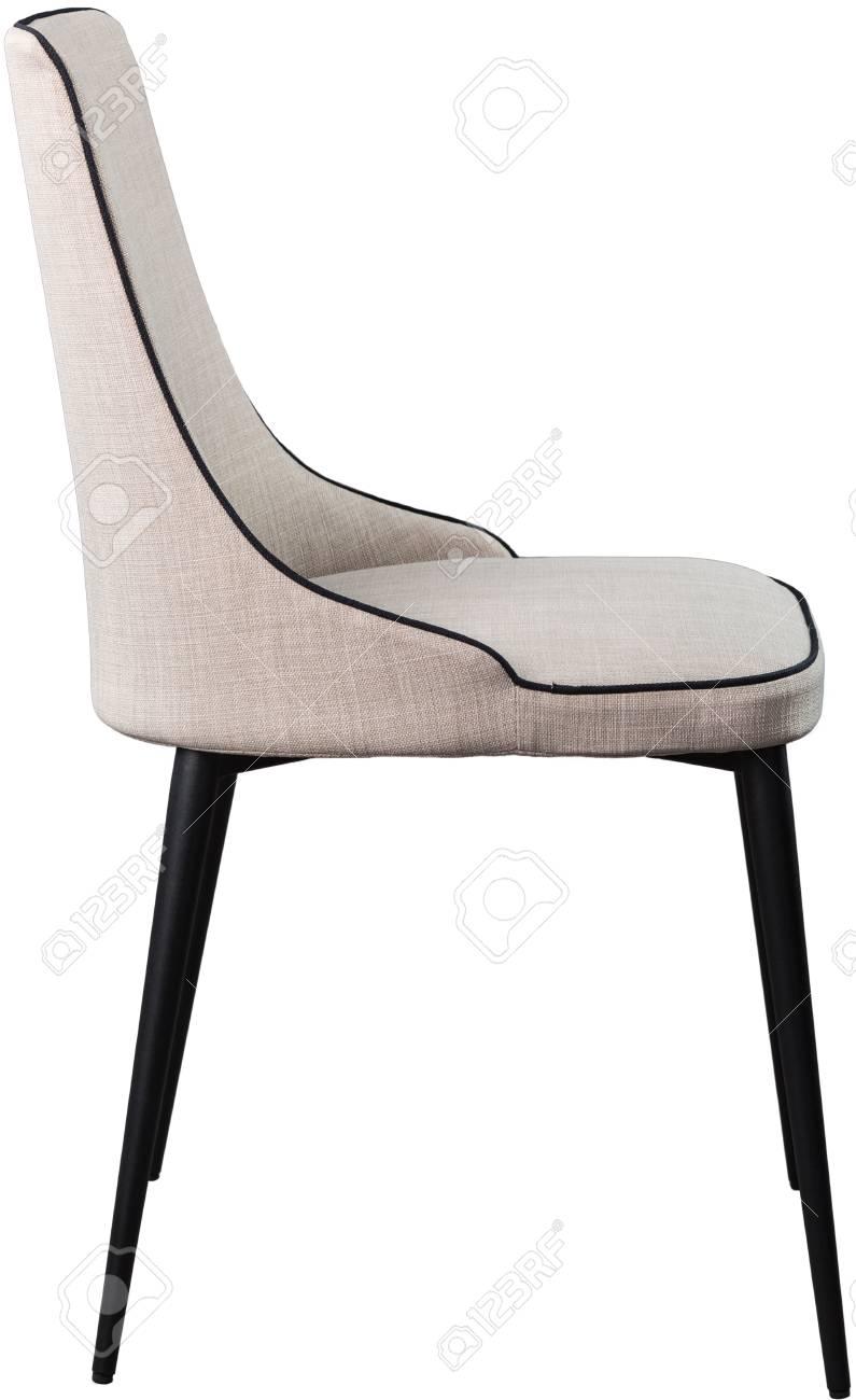 Salle A Manger Gris Blanc Noir chaise de salle à manger design gris sur pieds en métal noir. chaise souple  moderne isolé sur fond blanc.