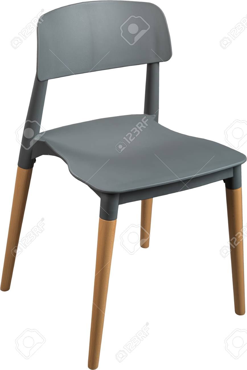 Gray Color Plastic Chair, Modern Designer. Chair On Wooden Legs Isolated On  White Background