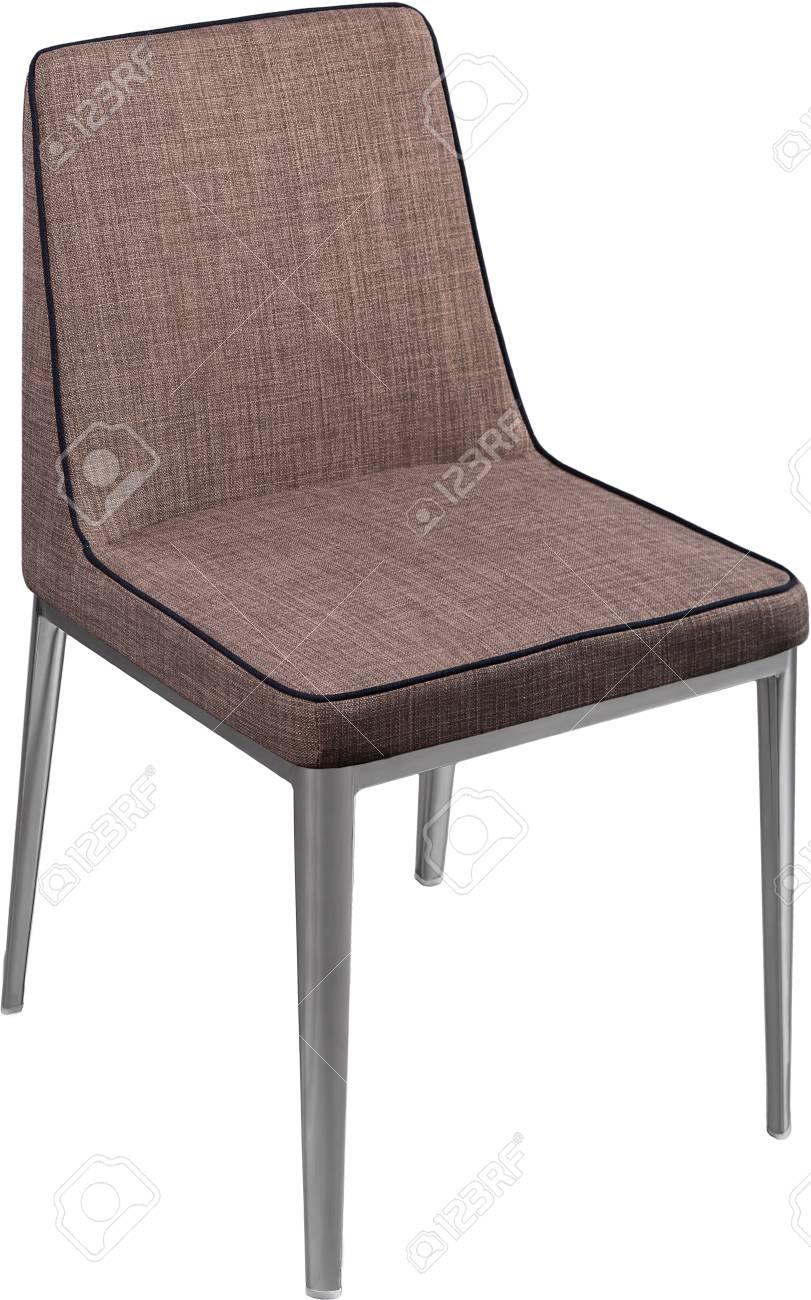 black metal dining chairs. Designer Brown Dining Chair On Black Metal Legs. Modern Soft Isolated White Background Chairs