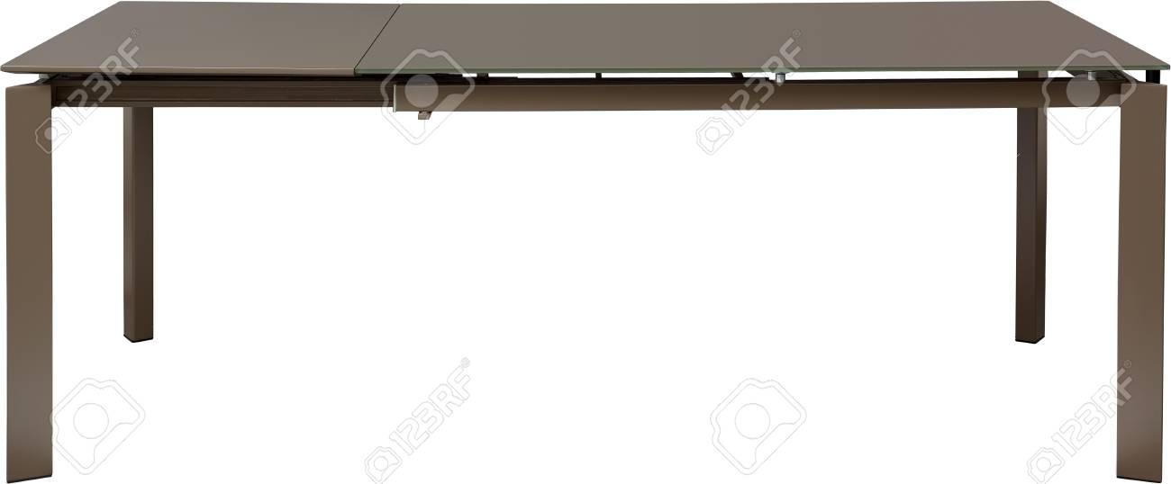 Moderne Witte Eettafel.Moderne Bruine Eettafel Moderne Ontwerper Glijdende Die Lijst Op Witte Achtergrond Wordt Geisoleerd Serie Meubelen
