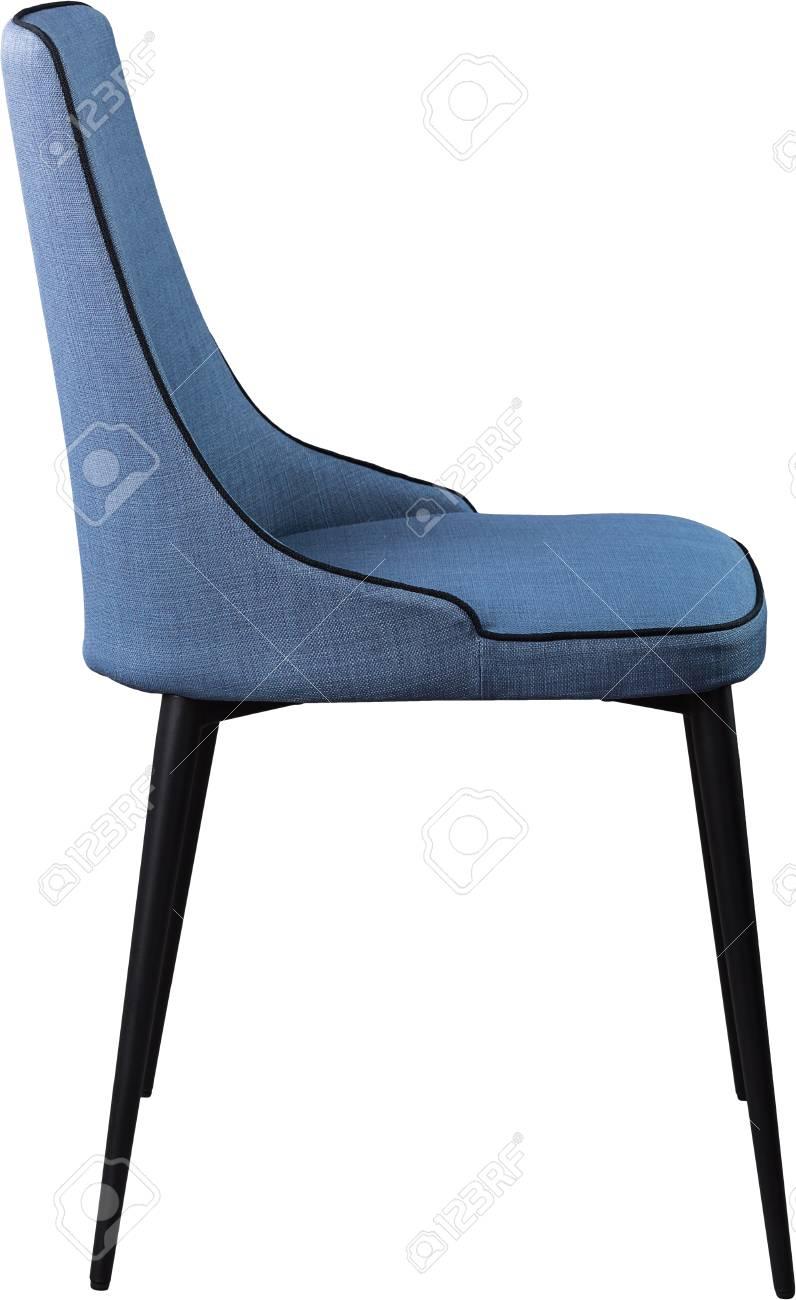 Chaise De Salle à Manger Design Bleu Sur Pieds En Métal Noir Chaise