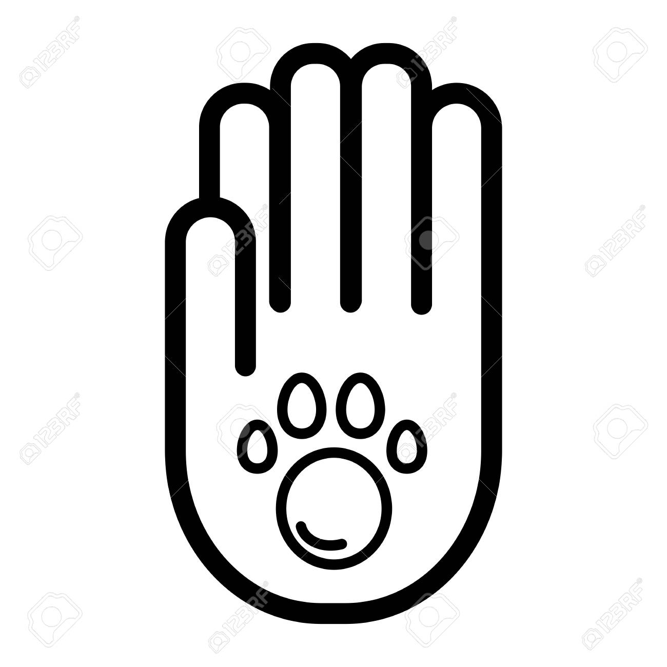 Human hand and paw inside simple vector icon  Black and white