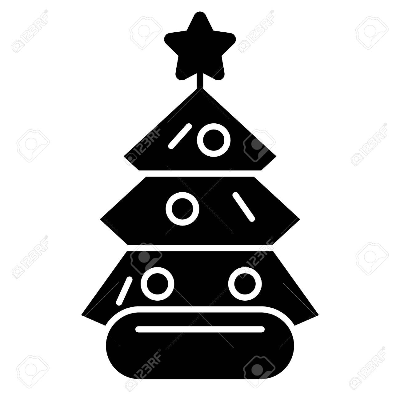 Dressed Christmass Tree Linear Icon Black Christmas Tree On