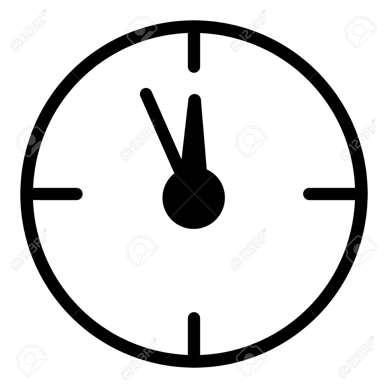 12 oclock Christmas New Year Flat Icon On White Background. Christmass time vector icon. Clock linear contour icon. - 93269562