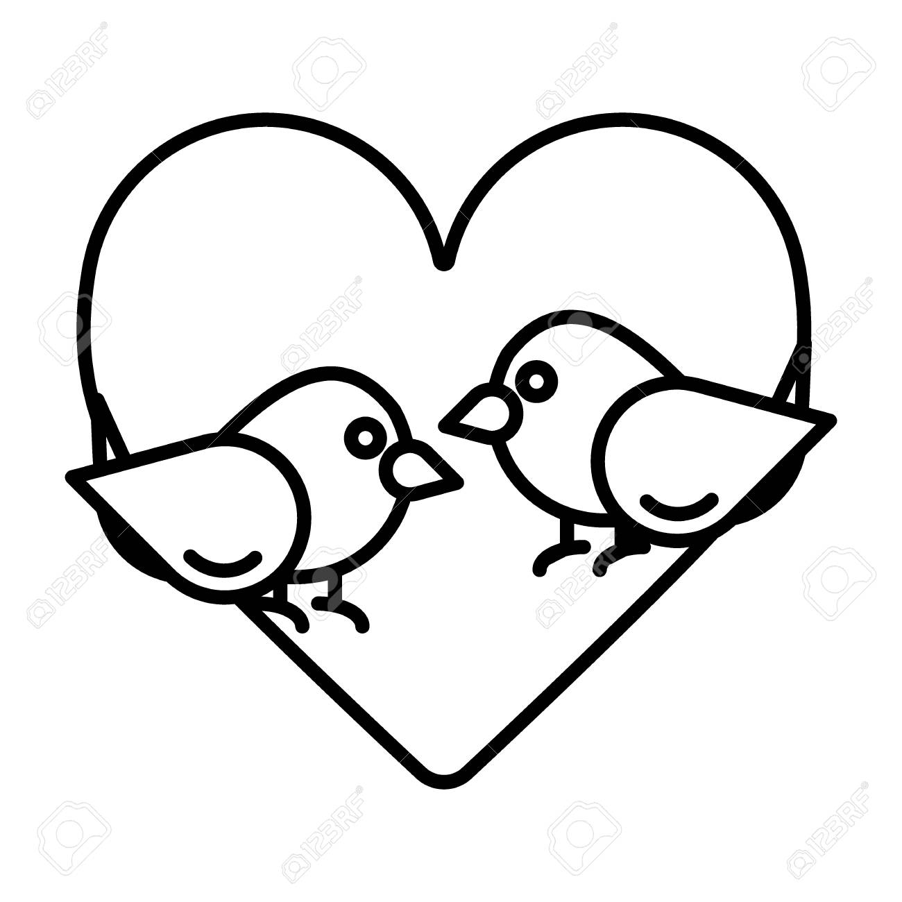 Love Birds With Heart Icon Vector Flat Sign Outline Pictogram Royalty Free Cliparts Vectors And Stock Illustration Image 94259736