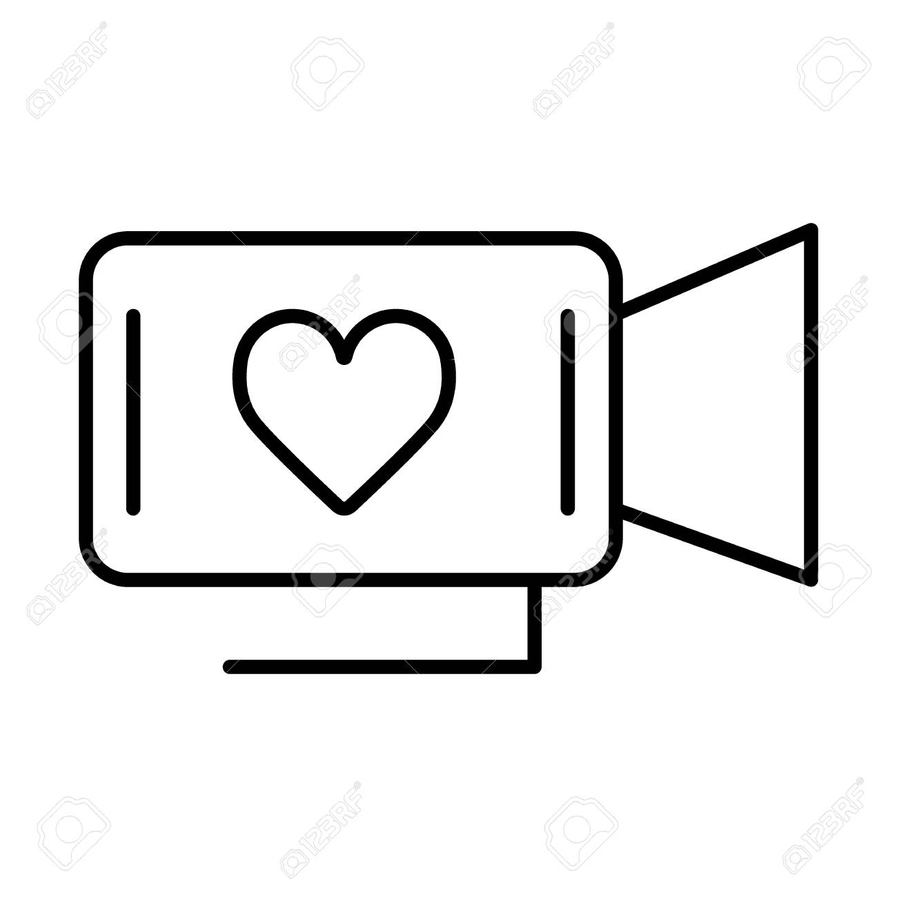 Movie Camera With Heart Symbol Film About Love Valentine Day