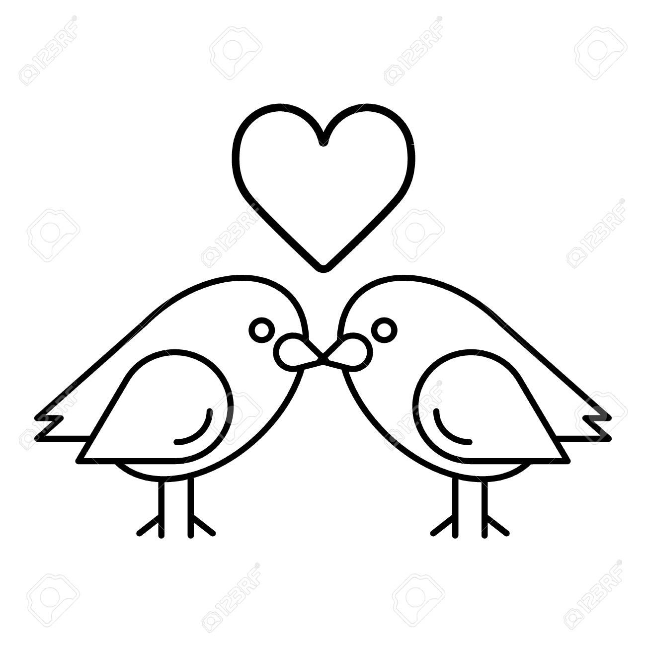 love birds with heart icon vector illustration royalty free cliparts rh 123rf com vector birds love vector birds flying