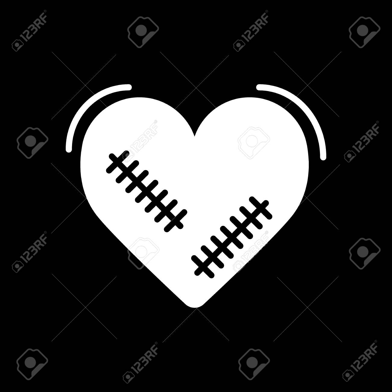 Broken Heart Vector Icon With Wound Patches Isolated In Black