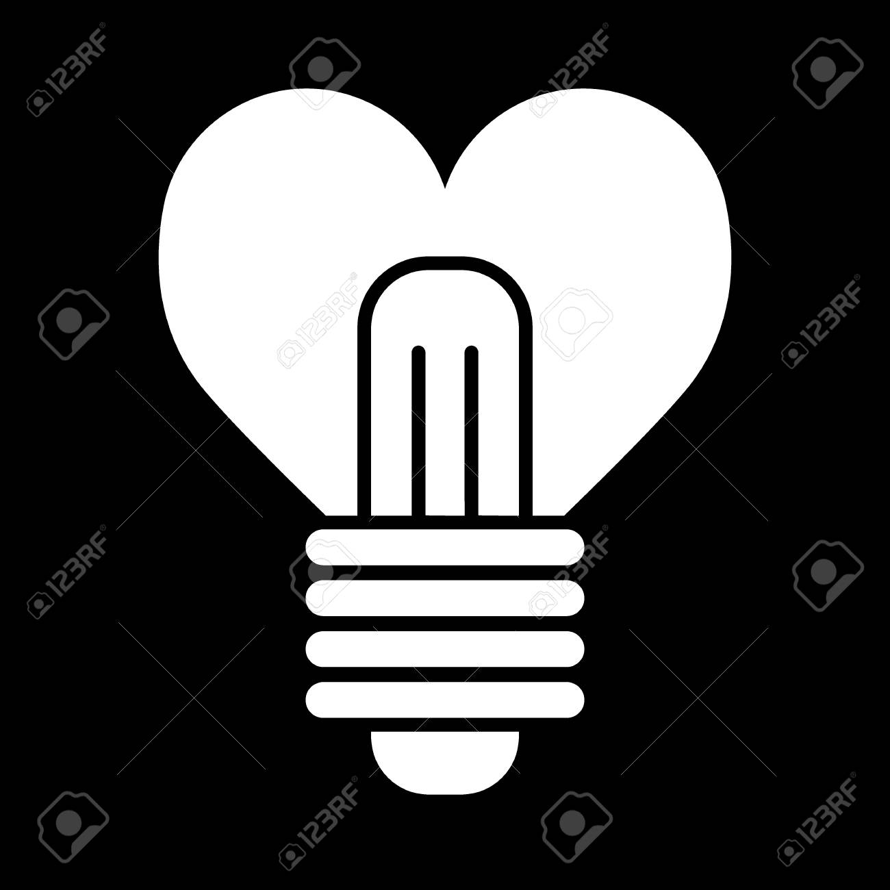 Heart Shape In A Light Bulb Line Icon Solid Vector Sign Linear