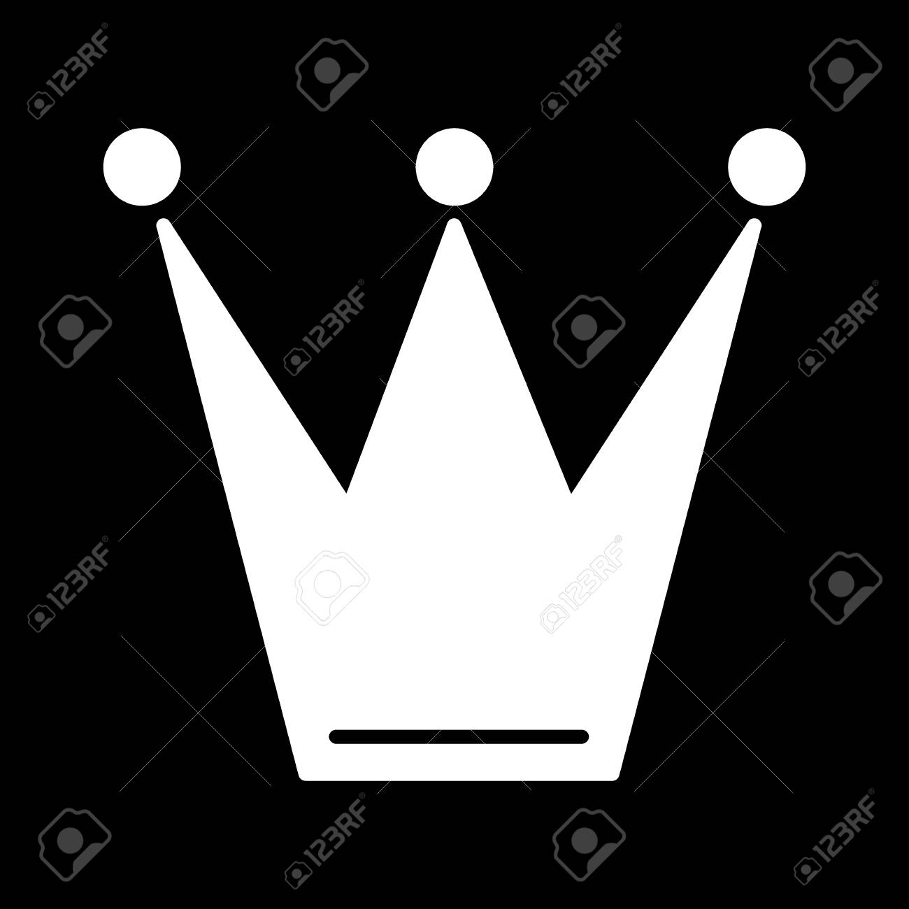 Crown Icon In Trendy Flat Style Isolated On Black Background
