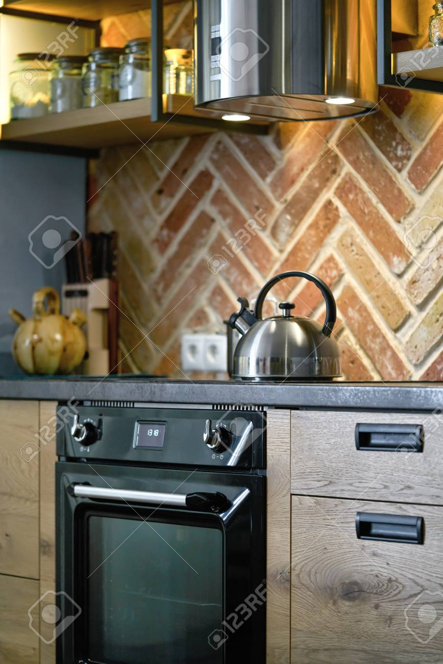 detail shot of modern electric stainless steel kitchen appliances...