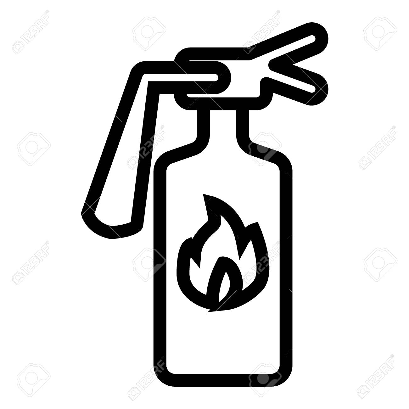 Fire extinguisher line icon  Fire protection vector illustration