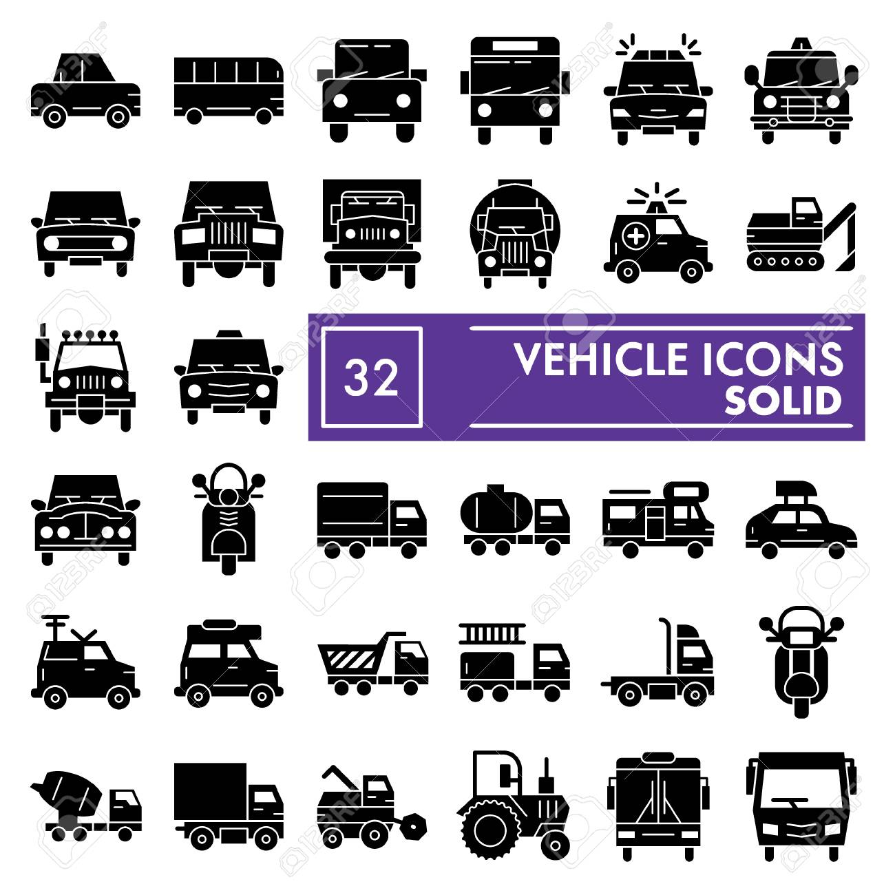 Illustration vehicle glyph icon set car symbols collection vector sketches logo illustrations auto signs solid pictograms package isolated on white
