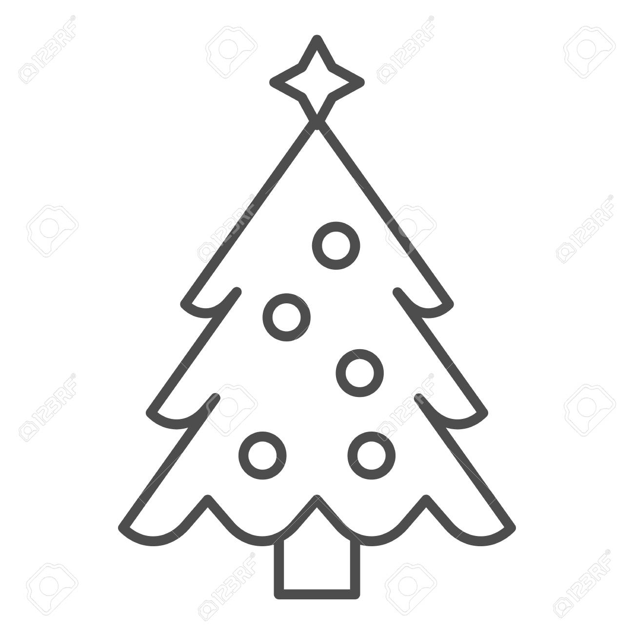 Christmas Tree With A Star Thin Line Icon Fir Tree Vector Illustration