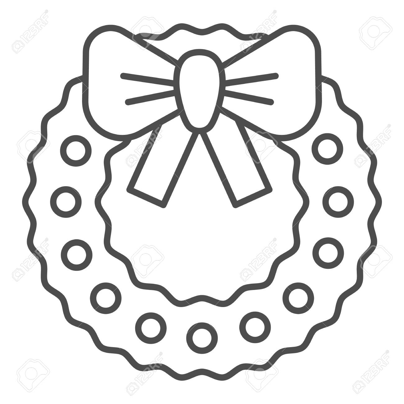 Lovely Christmas Wreath Thin Line Icon Xmas Wreath With Bow Stock