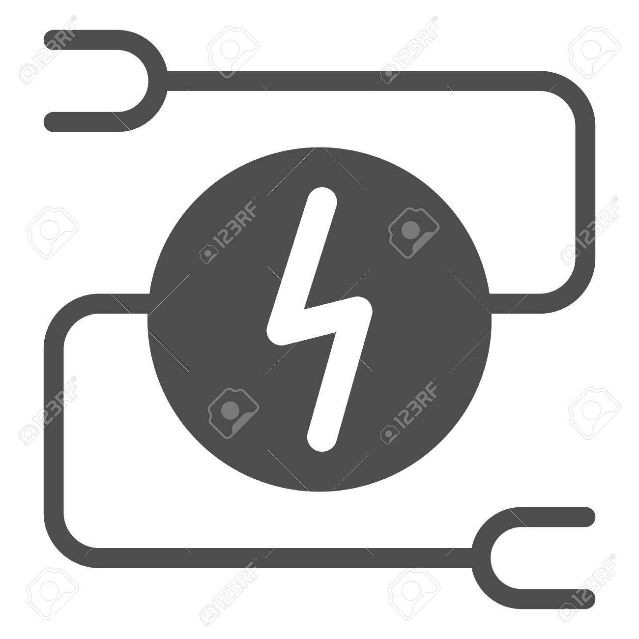 Electrical wiring solid icon. Car adapter vector illustration isolated on