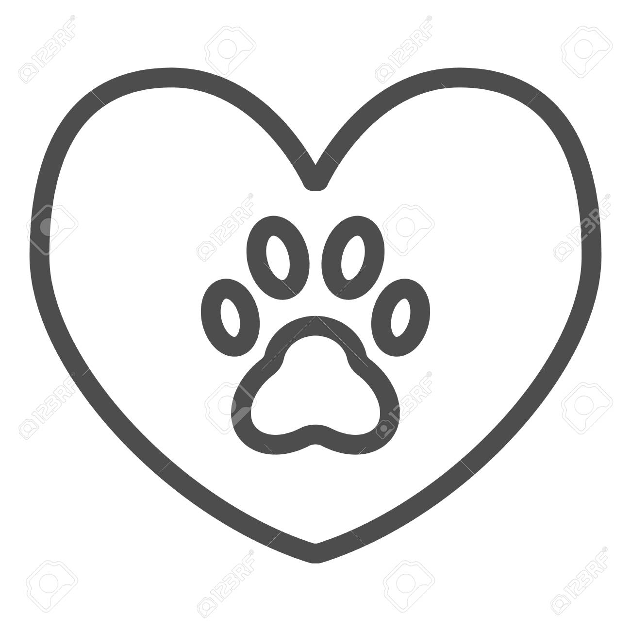Heart with dog paw line icon  Heart and paw print vector illustration