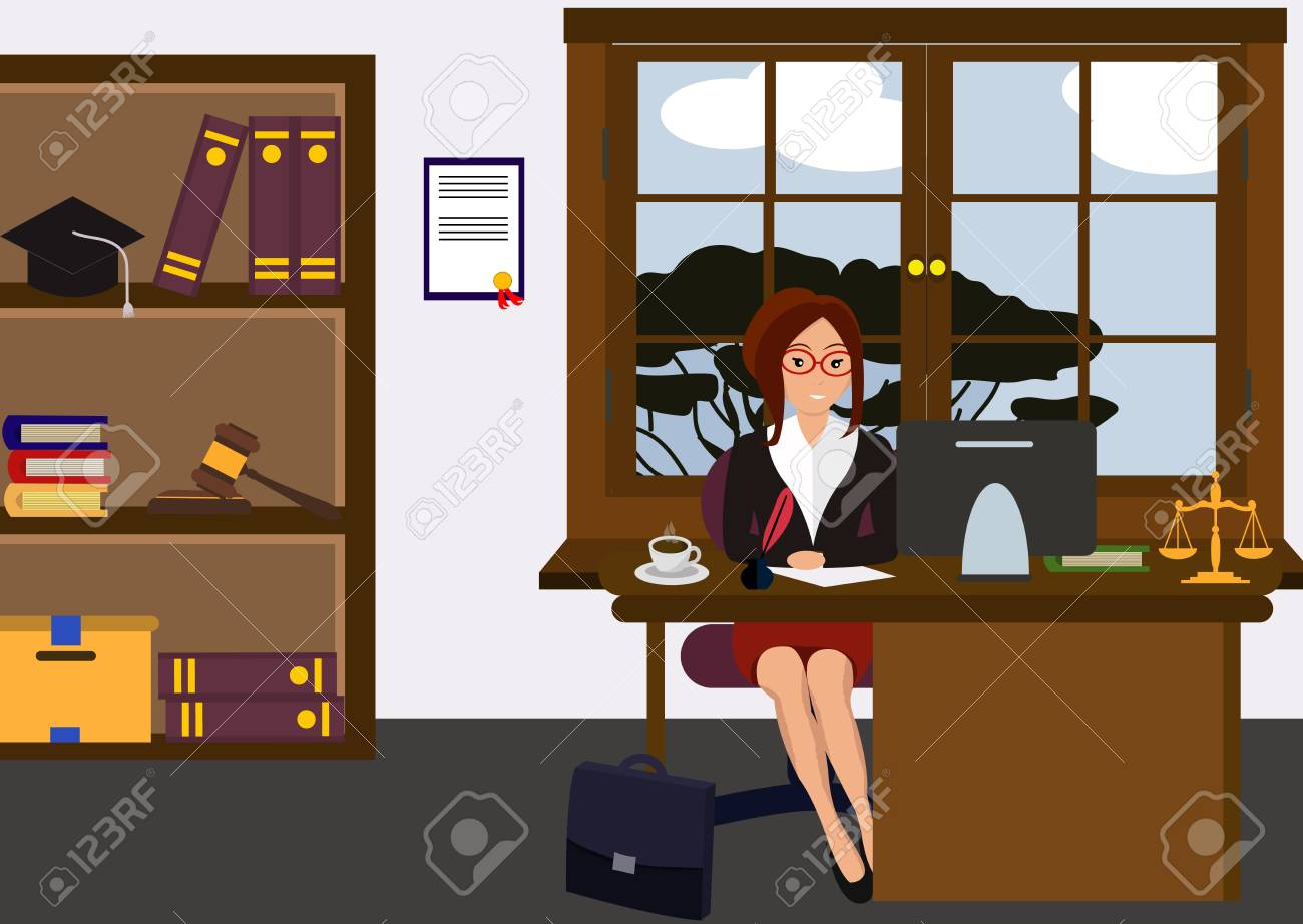 Woman lawyer at her work desk. Beautiful young girl sitting at the table, working with pc. Cartoon cute design. Businesswoman flat style. Colorful vector illustration - 127295311