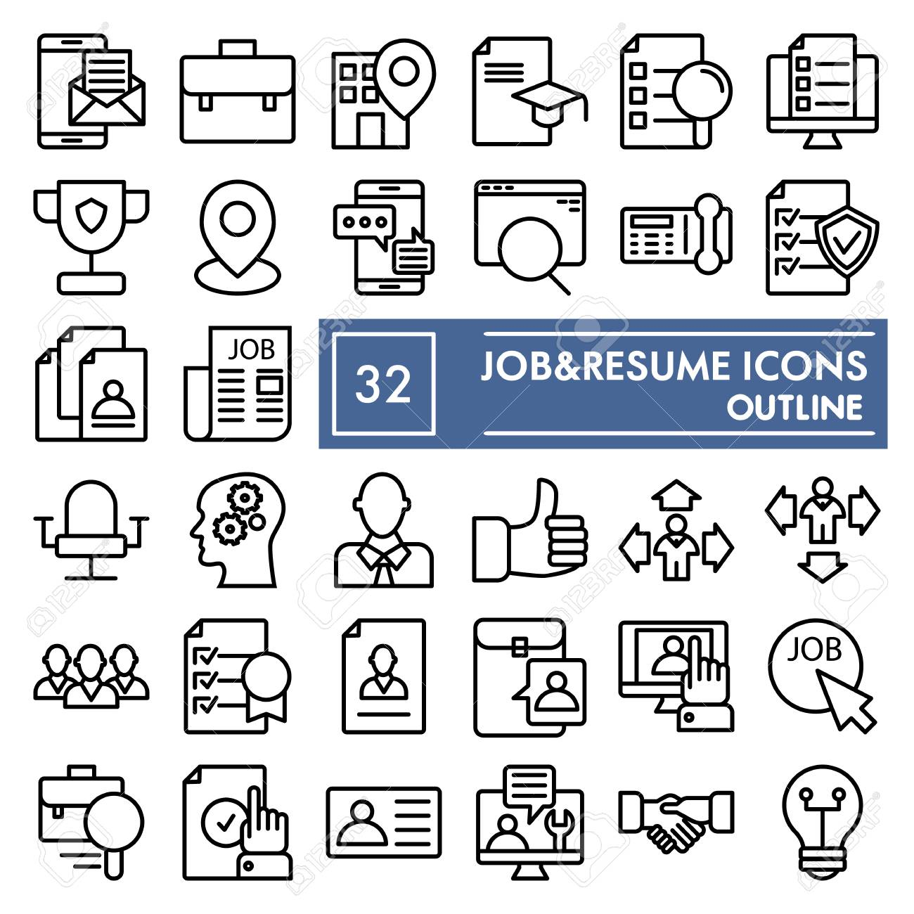 Job And Resume Line Icon Set Work Symbols Collection Vector