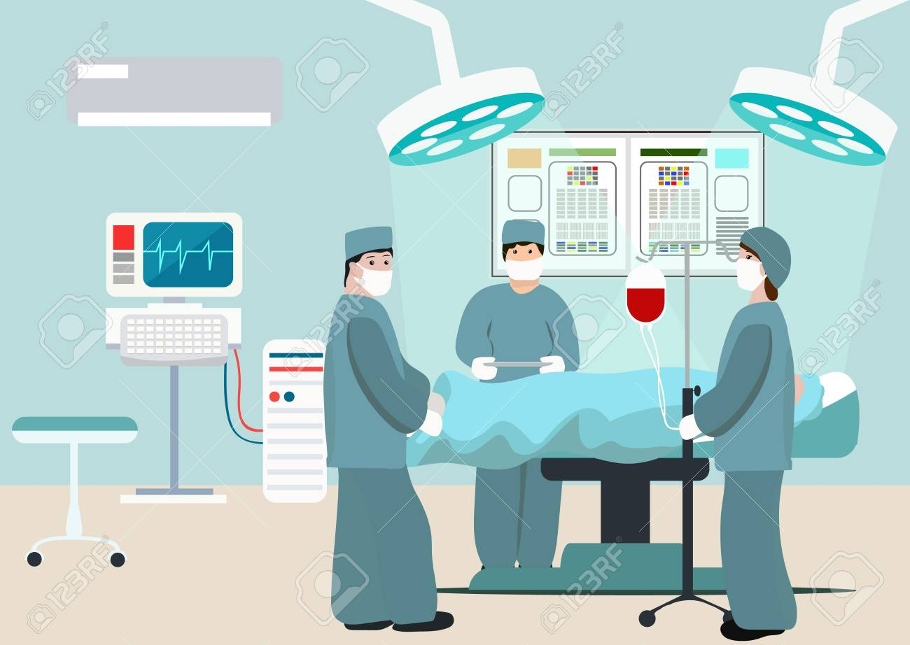 Vector Illustration of operating room. Surgeon team at work in operating room. Medical surgery flat composition with doctors and patient. Surgeons in operation theater. Man under anaesthesia - 125864087