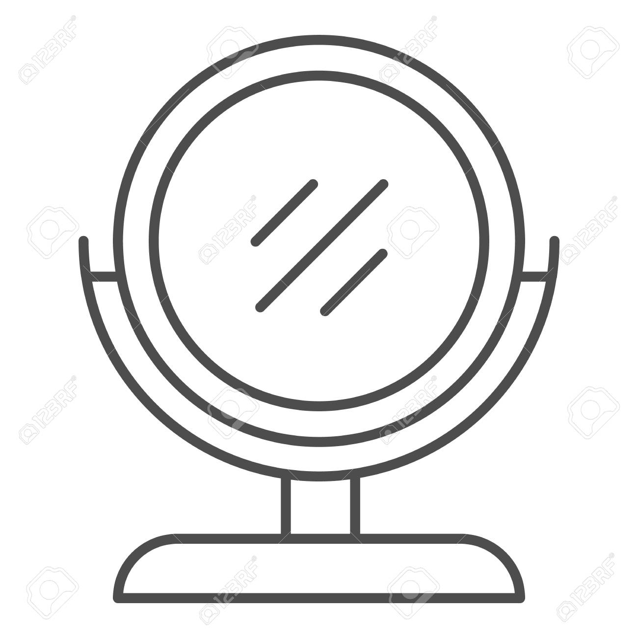 Round makeup mirror thin line icon. Desk mirror vector illustration isolated on white. Table mirror outline style design, designed for web and app. Eps 10. - 116439200