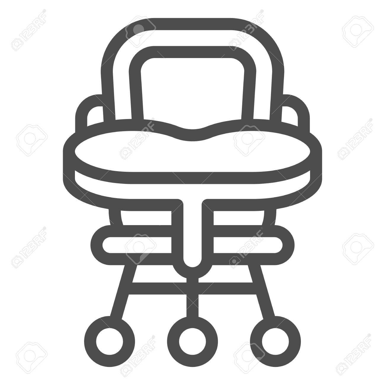 Baby Chair Line Icon High Chair Vector Illustration Isolated