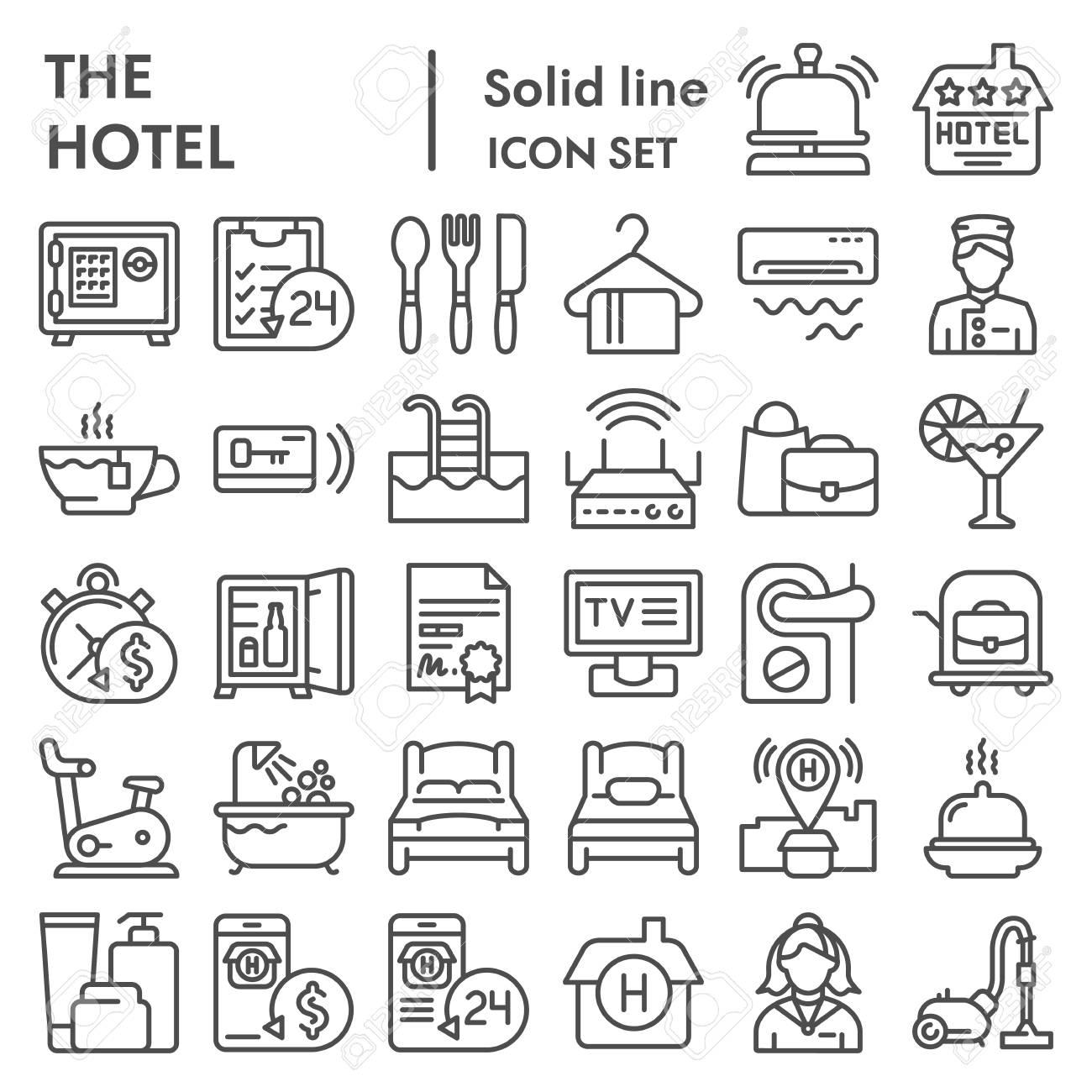 Hotel line icon set, service symbols collection, vector sketches,