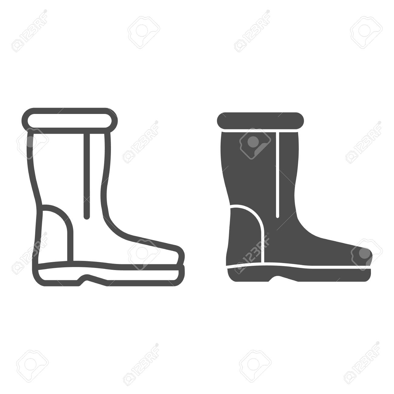 Wool boots line and glyph icon. Warm shoes vector illustration..
