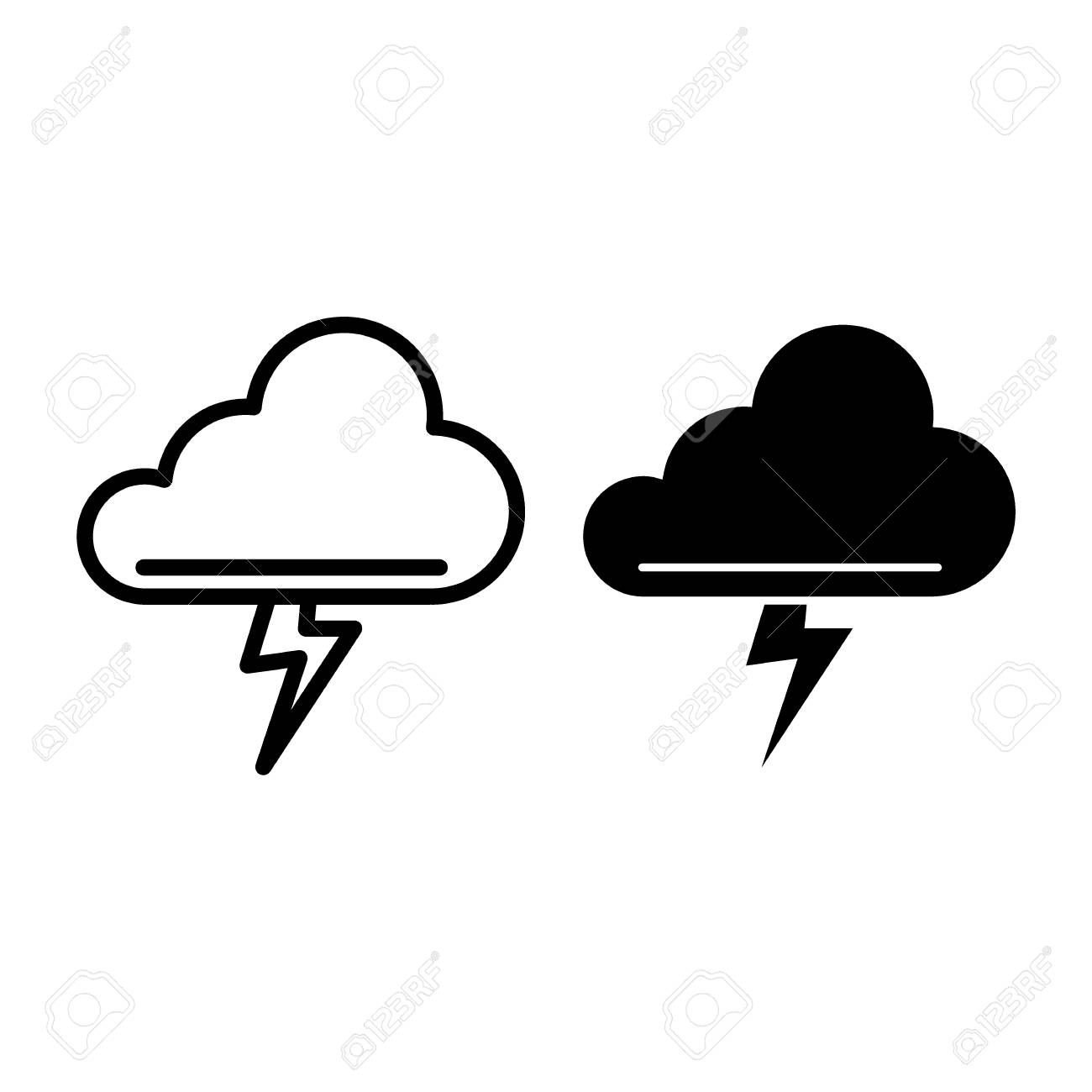 Cloud And Thunderstorm Line And Glyph Icon Lightning Bolt In Royalty Free Cliparts Vectors And Stock Illustration Image 124853504