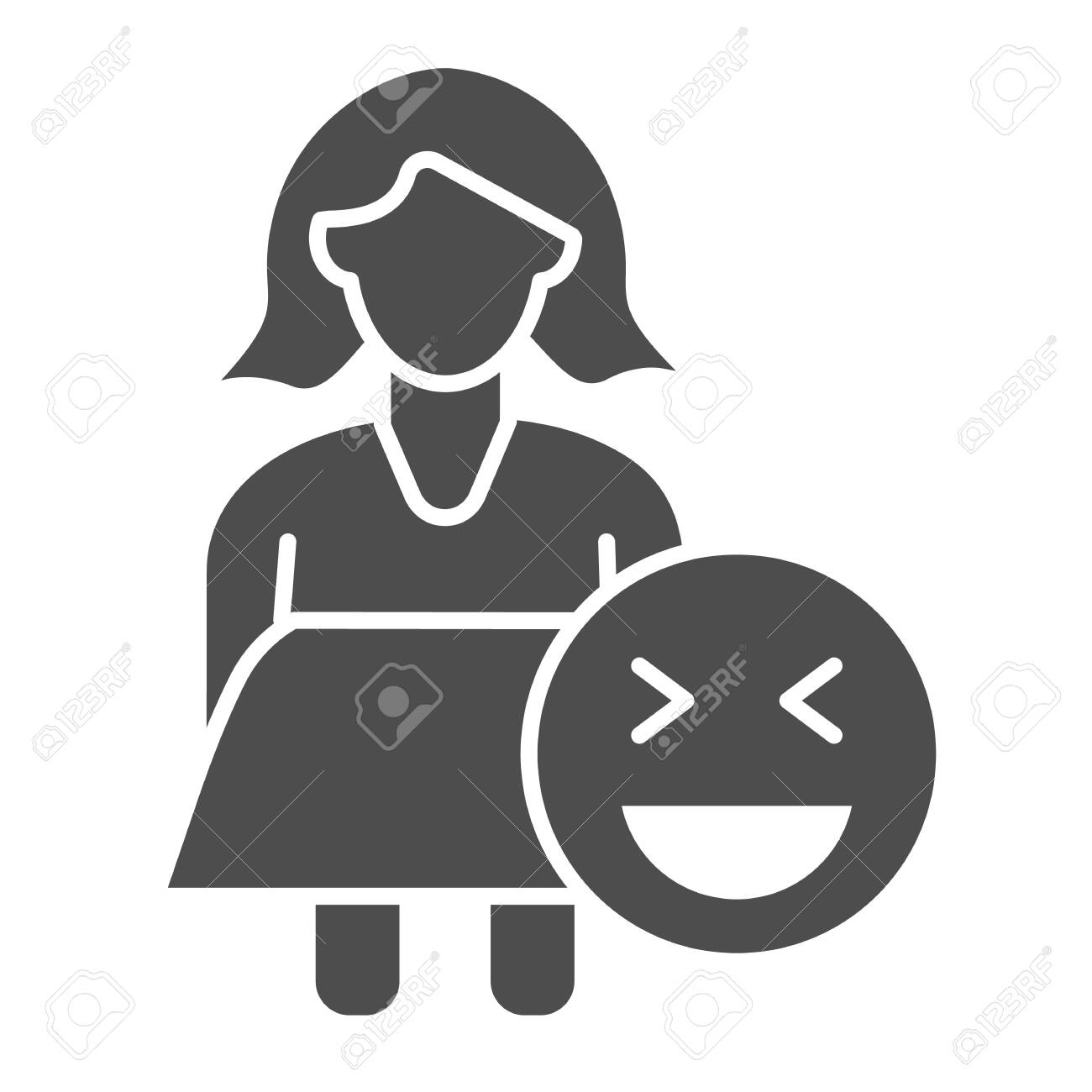 Fat woman and emoji solid icon  Obese girl vector illustration