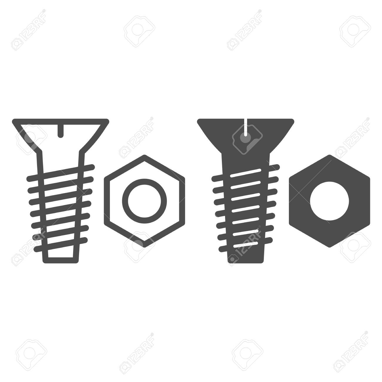 Bolt And Nut Line And Glyph Icon Screw And Nut Vector Illustration Royalty Free Cliparts Vectors And Stock Illustration Image 124342190