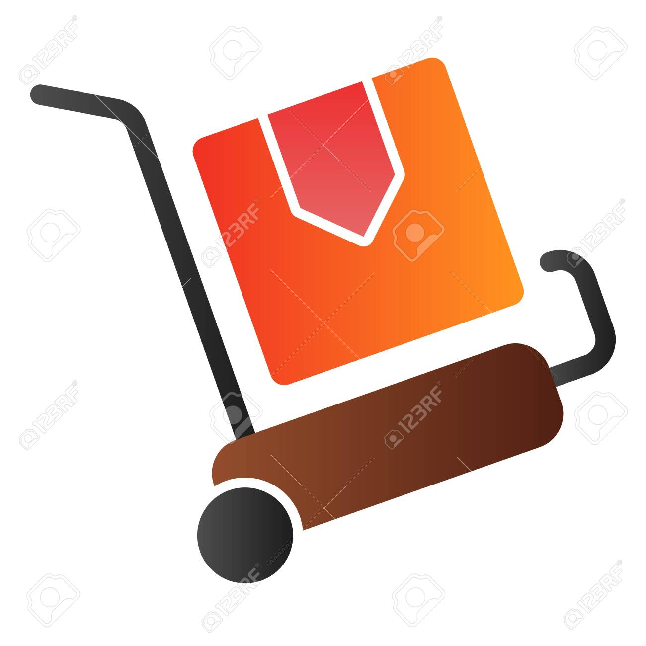 Packages delivery trolley flat icon  Cargo cart color icons in