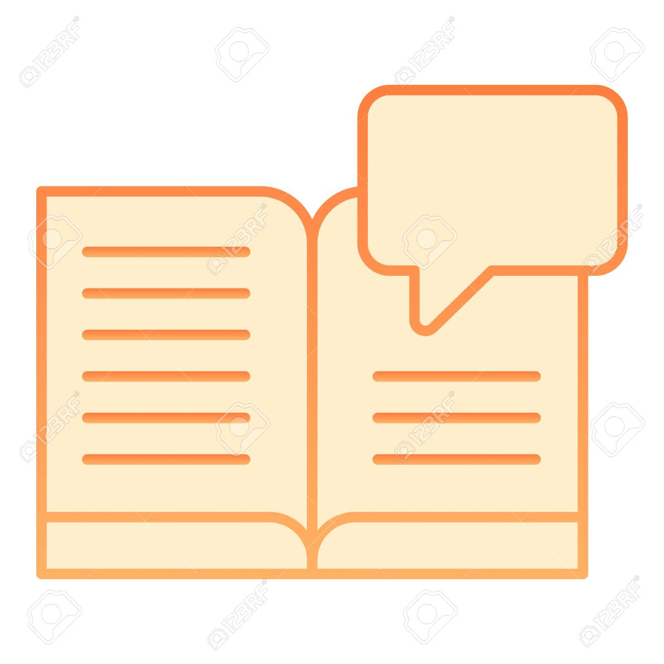Book dialogue flat icon  Book chat orange icons in trendy flat