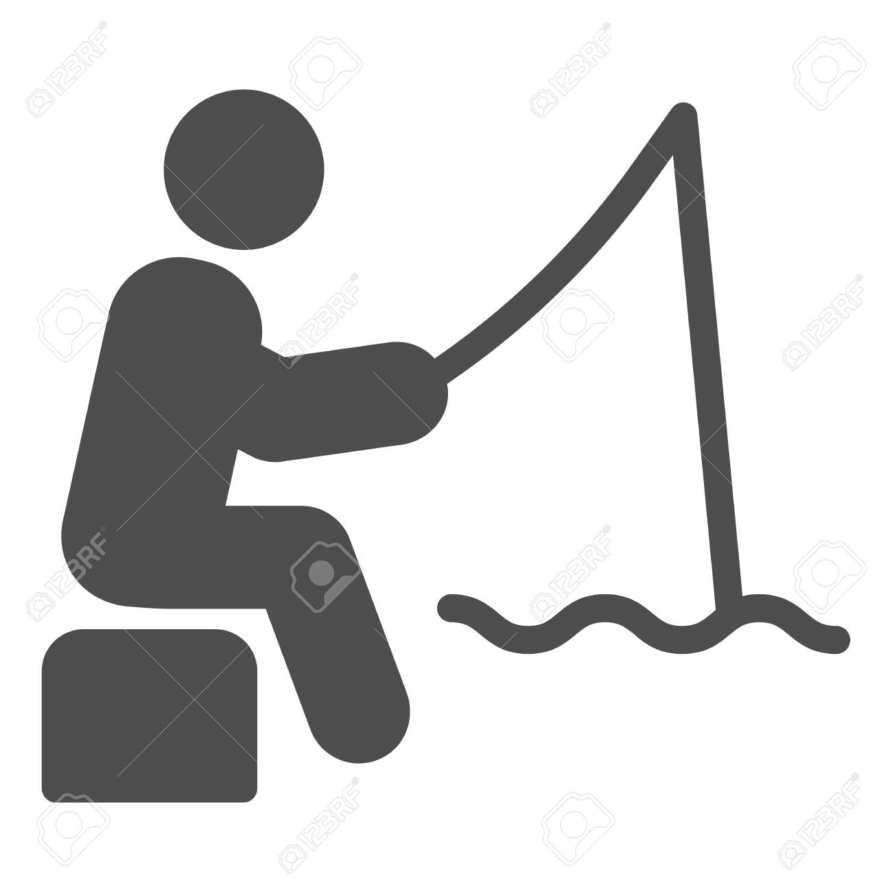 fisheman solid icon fishing man on the river vector illustration royalty free cliparts vectors and stock illustration image 130847833 123rf com