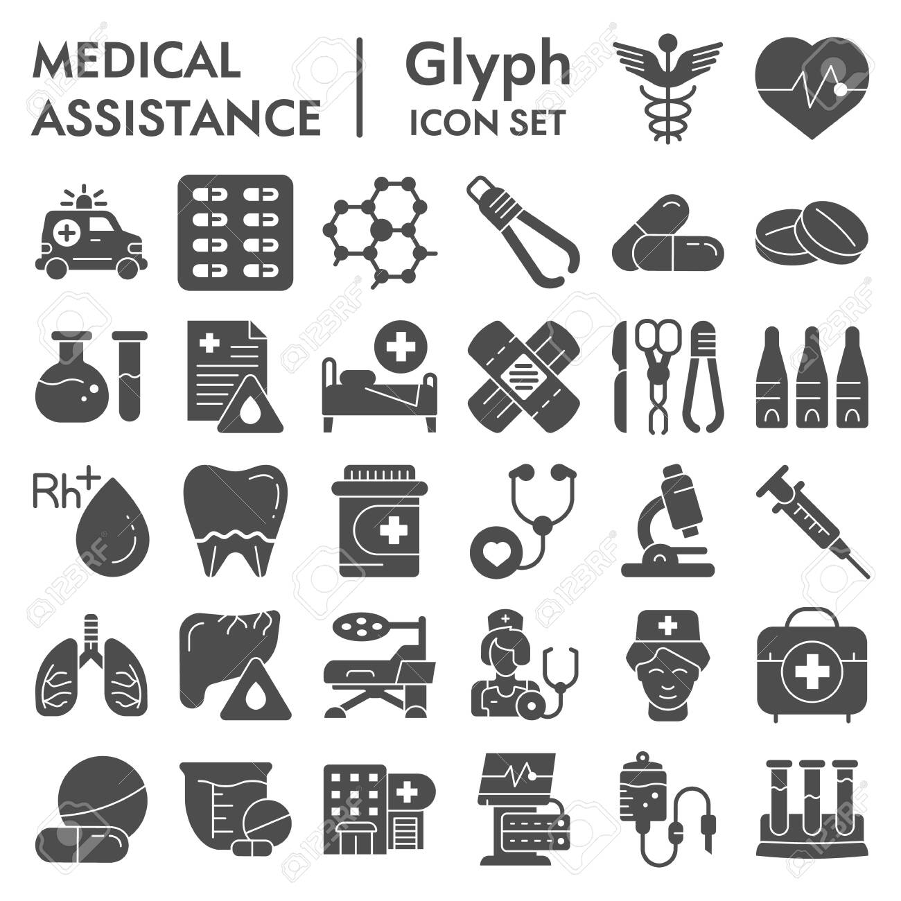 Medical assistance glyph icon set, healthcare symbols collection, vector sketches, illustrations, medicine equipment signs solid pictograms package isolated on white background, eps 10. - 132066883