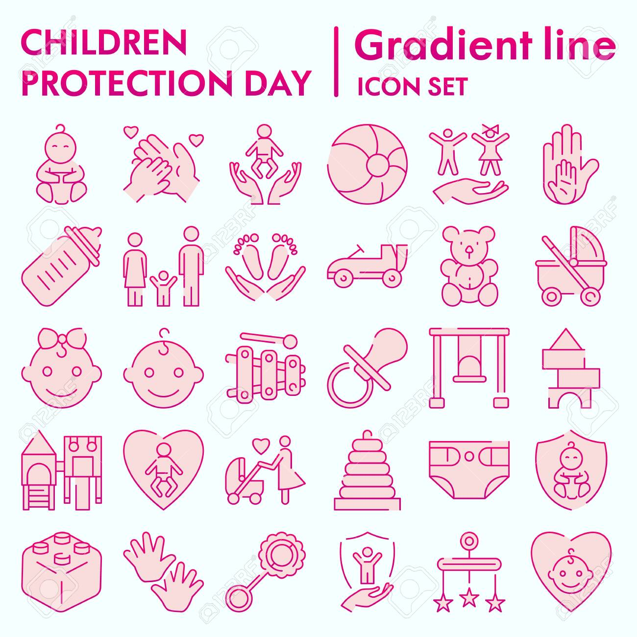 Children protection day flat icon set, baby stuff symbols collection - 140943396