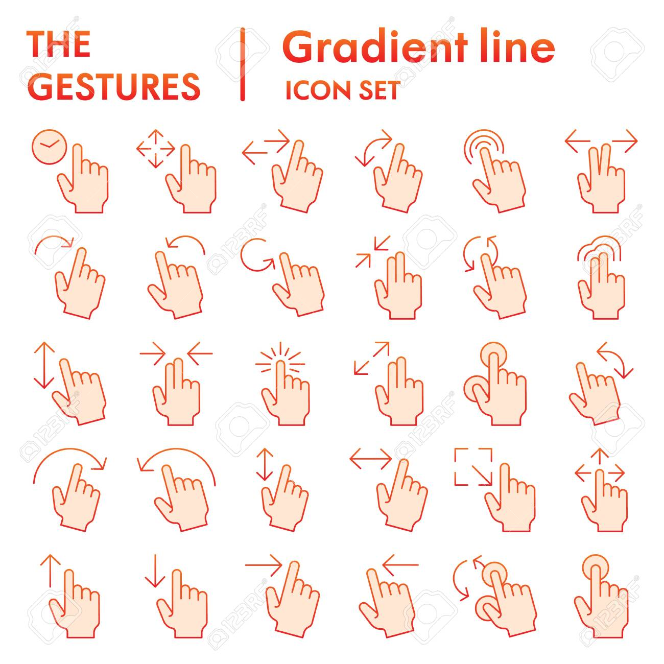 Gestures flat icon set, hand symbols collection, vector sketches, logo illustrations, tap signs gradient pictograms package isolated on white background, eps 10. - 141058346