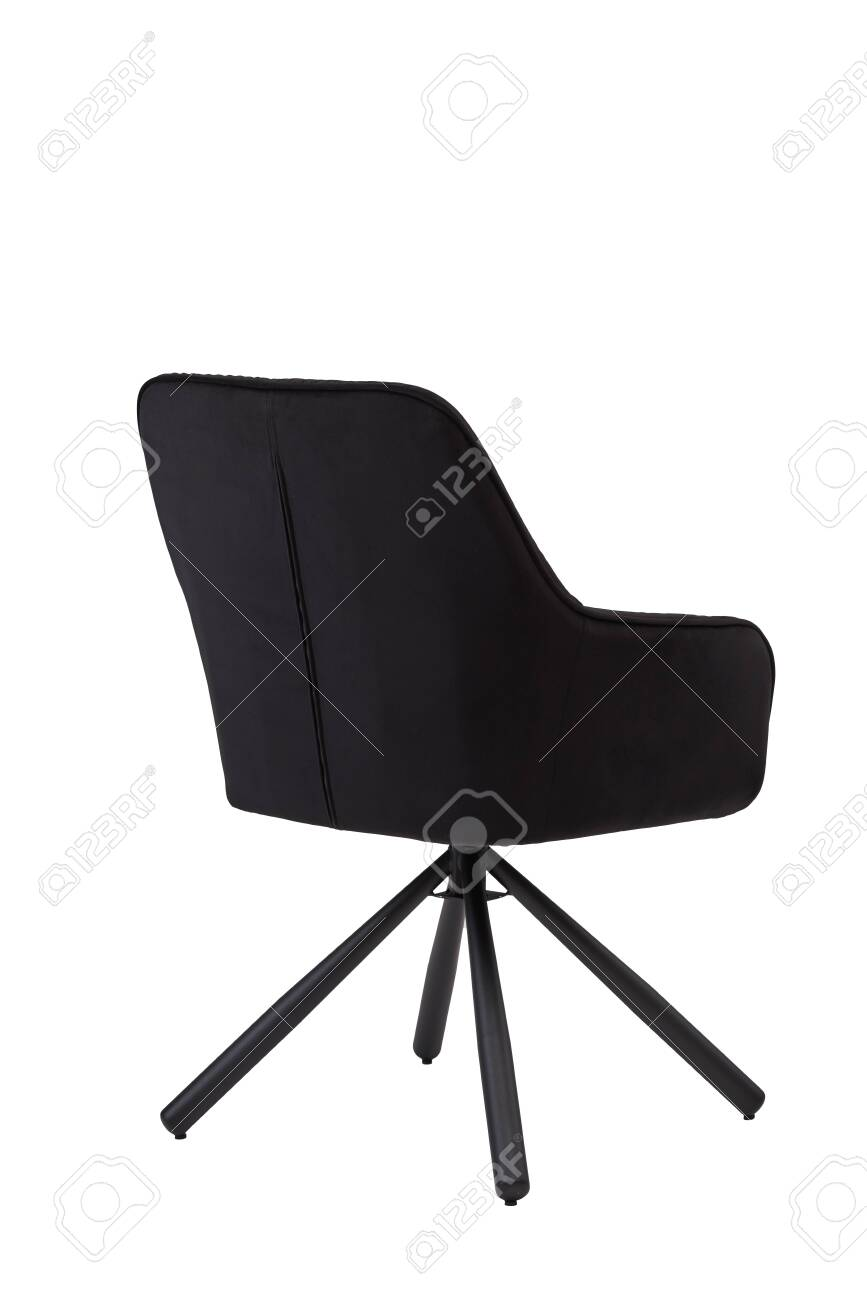 Black Velvet Armchair Isolated On White Background Modern Black Stock Photo Picture And Royalty Free Image Image 141128319