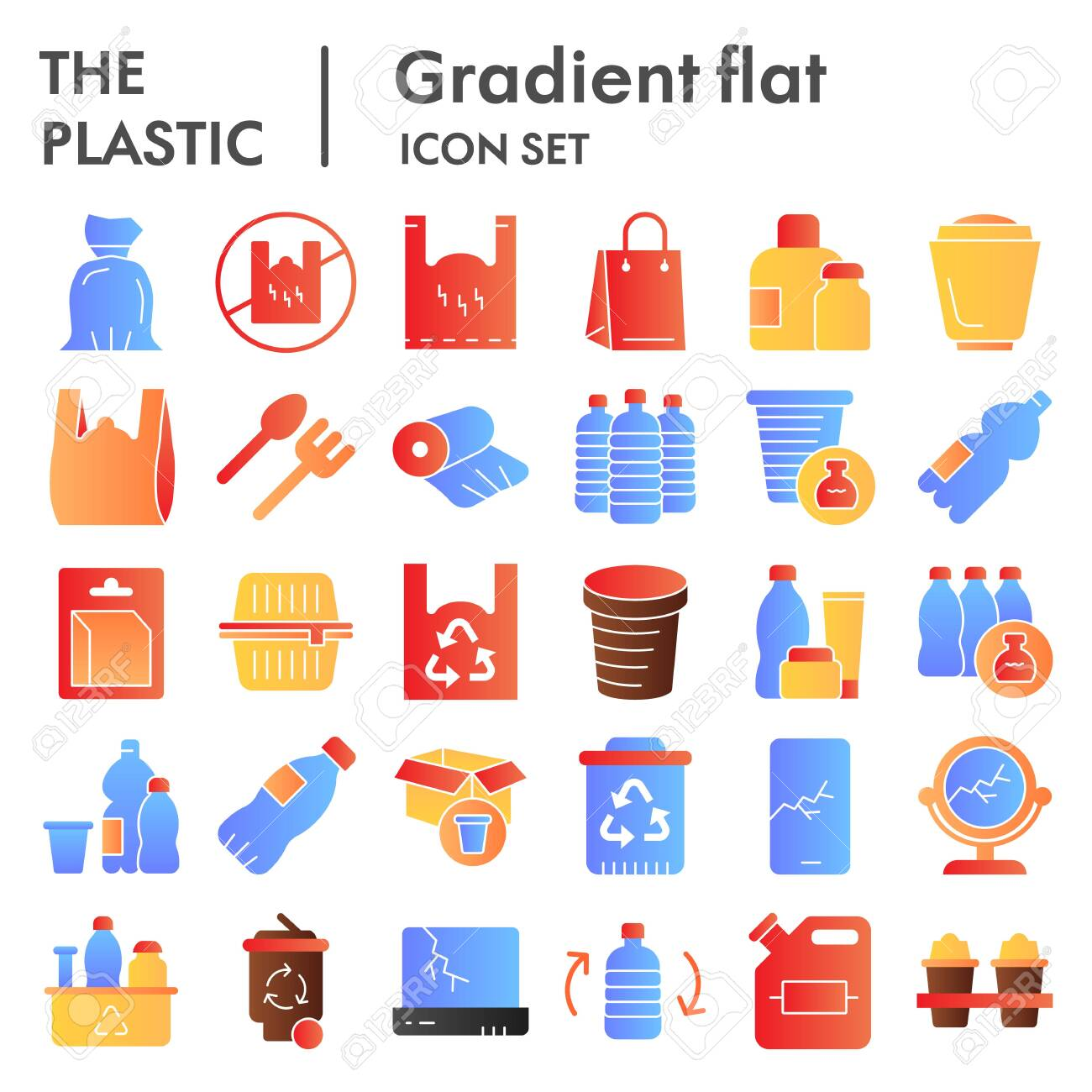 Plastic products flat icon set. Zero waste collection, sketches, logo illustrations, web symbols, gradient style pictograms package isolated on white background. Vector graphics. - 141668074