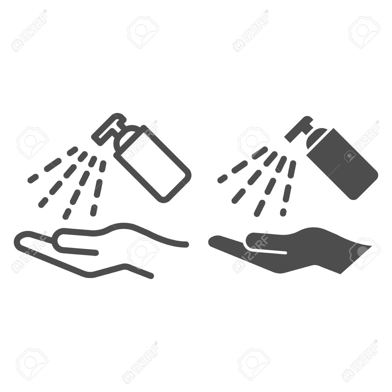 Antiseptic alcohol spray line and solid icon. Clean hand with hygienic gel outline style pictogram on white background. Sanitize to prevent Covid-19 for mobile concept and web design. Vector graphics. - 144796300