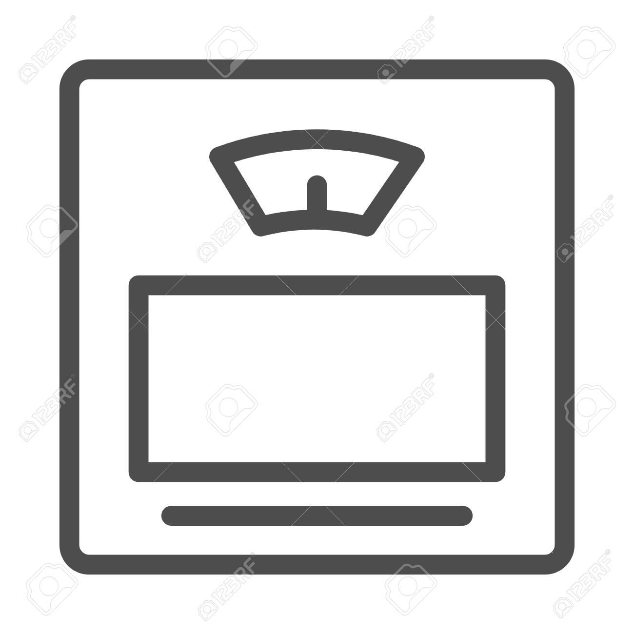 Scales line icon, Measuring devices concept, bathroom digital scale sign on white background, Home scales icon in outline style for mobile concept and web design. Vector graphics. - 148401189