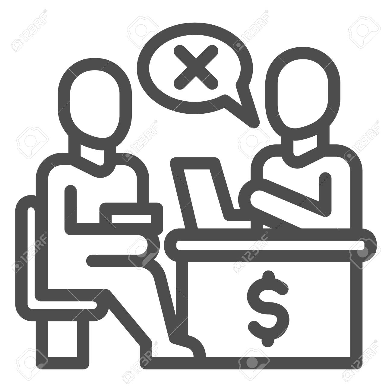 Bank manager refuses a loan for person line icon, Payment problem concept, Loan refusal sign on white background, refuse in credit icon in outline style for mobile and web. Vector graphics. - 151890142