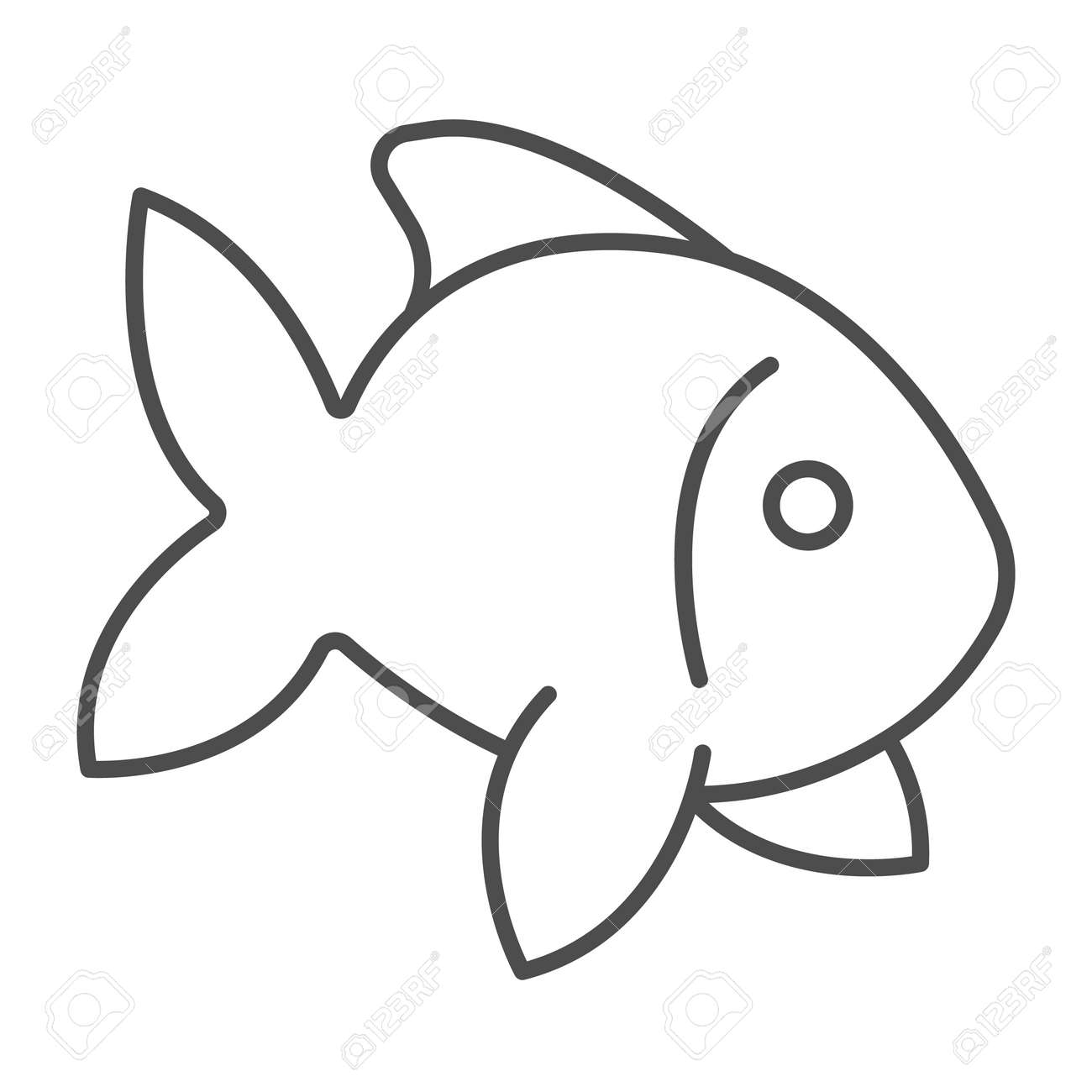 Fish, goldfish, aquarium tropical fish thin line icon, sea life concept, carp vector sign on white background, outline style icon for mobile concept and web design. Vector graphics. - 173433668