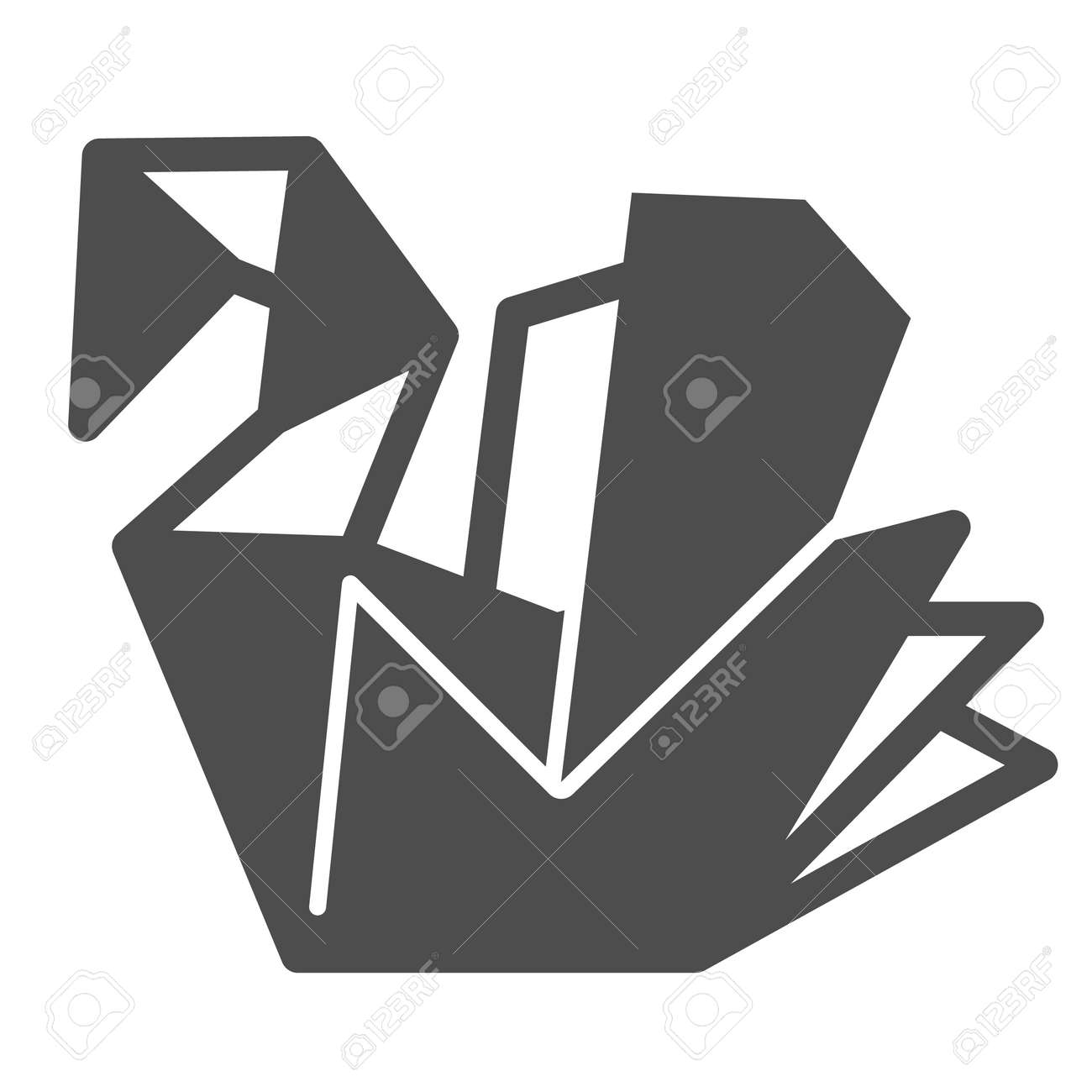 Paper swan, origami solid icon, asian culture concept, folded origami bird vector sign on white background, glyph style icon for mobile concept and web design. Vector graphics. - 173433669